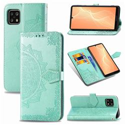Embossing Imprint Mandala Flower Leather Wallet Case for Sharp AQUOS sense4 SH-41A - Green