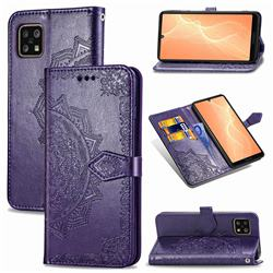 Embossing Imprint Mandala Flower Leather Wallet Case for Sharp AQUOS sense4 SH-41A - Purple