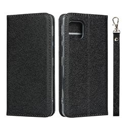 Ultra Slim Magnetic Automatic Suction Silk Lanyard Leather Flip Cover for Sharp AQUOS sense4 SH-41A - Black