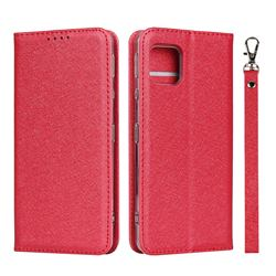 Ultra Slim Magnetic Automatic Suction Silk Lanyard Leather Flip Cover for Sharp AQUOS sense4 SH-41A - Red