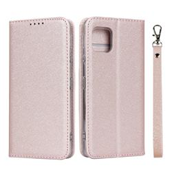 Ultra Slim Magnetic Automatic Suction Silk Lanyard Leather Flip Cover for Sharp AQUOS sense4 SH-41A - Rose Gold