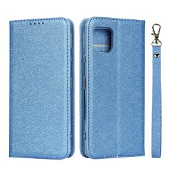 Ultra Slim Magnetic Automatic Suction Silk Lanyard Leather Flip Cover for Sharp AQUOS sense4 SH-41A - Sky Blue