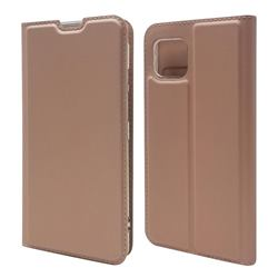 Ultra Slim Card Magnetic Automatic Suction Leather Wallet Case for Sharp AQUOS sense4 SH-41A - Rose Gold