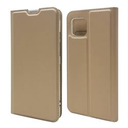 Ultra Slim Card Magnetic Automatic Suction Leather Wallet Case for Sharp AQUOS sense4 SH-41A - Champagne