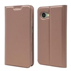Ultra Slim Card Magnetic Automatic Suction Leather Wallet Case for Sharp Aquos R2 Compact - Rose Gold