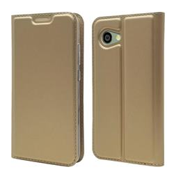 Ultra Slim Card Magnetic Automatic Suction Leather Wallet Case for Sharp Aquos R2 Compact - Champagne
