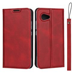 Calf Pattern Magnetic Automatic Suction Leather Wallet Case for Sharp Aquos R2 Compact - Red