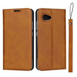 Calf Pattern Magnetic Automatic Suction Leather Wallet Case for Sharp Aquos R2 Compact - Brown