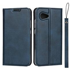 Calf Pattern Magnetic Automatic Suction Leather Wallet Case for Sharp Aquos R2 Compact - Blue