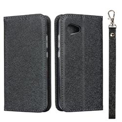 Ultra Slim Magnetic Automatic Suction Silk Lanyard Leather Flip Cover for Sharp Aquos R2 Compact - Black