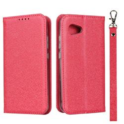 Ultra Slim Magnetic Automatic Suction Silk Lanyard Leather Flip Cover for Sharp Aquos R2 Compact - Red