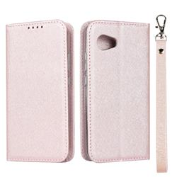 Ultra Slim Magnetic Automatic Suction Silk Lanyard Leather Flip Cover for Sharp Aquos R2 Compact - Rose Gold