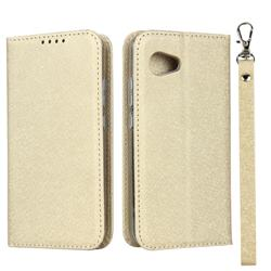 Ultra Slim Magnetic Automatic Suction Silk Lanyard Leather Flip Cover for Sharp Aquos R2 Compact - Golden