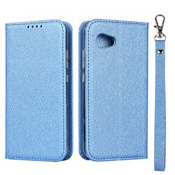 Ultra Slim Magnetic Automatic Suction Silk Lanyard Leather Flip Cover for Sharp Aquos R2 Compact - Sky Blue
