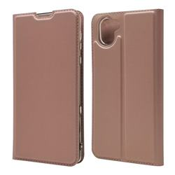 Ultra Slim Card Magnetic Automatic Suction Leather Wallet Case for Sharp AQUOS R3 SHV44 - Rose Gold