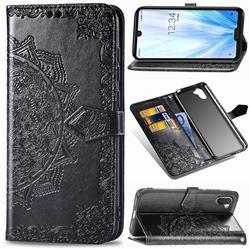 Embossing Imprint Mandala Flower Leather Wallet Case for Sharp AQUOS R3 SHV44 - Black