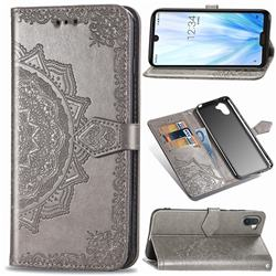 Embossing Imprint Mandala Flower Leather Wallet Case for Sharp AQUOS R3 SHV44 - Gray