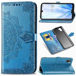 Embossing Imprint Mandala Flower Leather Wallet Case for Sharp AQUOS R3 SHV44 - Blue