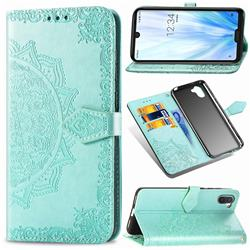 Embossing Imprint Mandala Flower Leather Wallet Case for Sharp AQUOS R3 SHV44 - Green