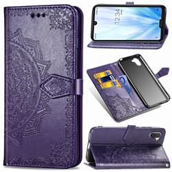 Embossing Imprint Mandala Flower Leather Wallet Case for Sharp AQUOS R3 SHV44 - Purple