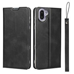 Calf Pattern Magnetic Automatic Suction Leather Wallet Case for Sharp AQUOS R3 SHV44 - Black