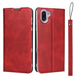 Calf Pattern Magnetic Automatic Suction Leather Wallet Case for Sharp AQUOS R3 SHV44 - Red