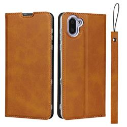 Calf Pattern Magnetic Automatic Suction Leather Wallet Case for Sharp AQUOS R3 SHV44 - Brown