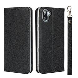 Ultra Slim Magnetic Automatic Suction Silk Lanyard Leather Flip Cover for Sharp AQUOS R3 SHV44 - Black