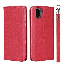 Ultra Slim Magnetic Automatic Suction Silk Lanyard Leather Flip Cover for Sharp AQUOS R3 SHV44 - Red