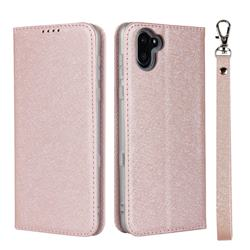 Ultra Slim Magnetic Automatic Suction Silk Lanyard Leather Flip Cover for Sharp AQUOS R3 SHV44 - Rose Gold
