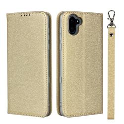 Ultra Slim Magnetic Automatic Suction Silk Lanyard Leather Flip Cover for Sharp AQUOS R3 SHV44 - Golden