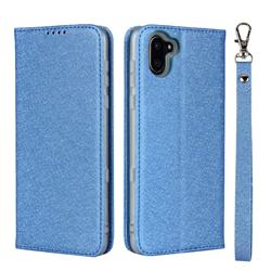 Ultra Slim Magnetic Automatic Suction Silk Lanyard Leather Flip Cover for Sharp AQUOS R3 SHV44 - Sky Blue