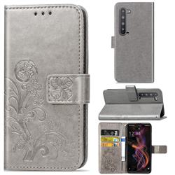 Embossing Imprint Four-Leaf Clover Leather Wallet Case for Sharp AQUOS R5G - Grey