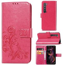 Embossing Imprint Four-Leaf Clover Leather Wallet Case for Sharp AQUOS R5G - Rose Red