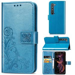 Embossing Imprint Four-Leaf Clover Leather Wallet Case for Sharp AQUOS R5G - Blue