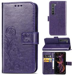 Embossing Imprint Four-Leaf Clover Leather Wallet Case for Sharp AQUOS R5G - Purple