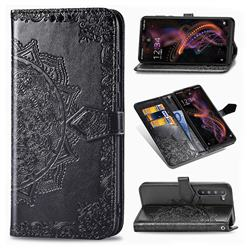 Embossing Imprint Mandala Flower Leather Wallet Case for Sharp AQUOS R5G - Black