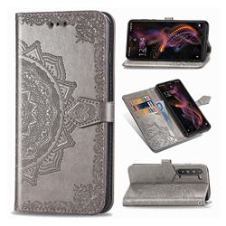 Embossing Imprint Mandala Flower Leather Wallet Case for Sharp AQUOS R5G - Gray