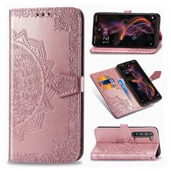 Embossing Imprint Mandala Flower Leather Wallet Case for Sharp AQUOS R5G - Rose Gold