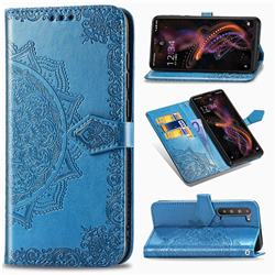 Embossing Imprint Mandala Flower Leather Wallet Case for Sharp AQUOS R5G - Blue
