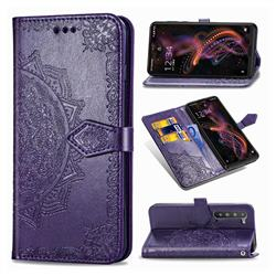 Embossing Imprint Mandala Flower Leather Wallet Case for Sharp AQUOS R5G - Purple