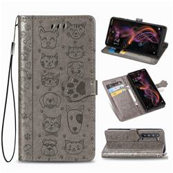 Embossing Dog Paw Kitten and Puppy Leather Wallet Case for Sharp AQUOS R5G - Gray