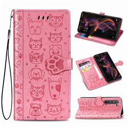 Embossing Dog Paw Kitten and Puppy Leather Wallet Case for Sharp AQUOS R5G - Pink