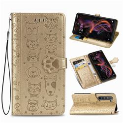 Embossing Dog Paw Kitten and Puppy Leather Wallet Case for Sharp AQUOS R5G - Champagne Gold