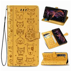 Embossing Dog Paw Kitten and Puppy Leather Wallet Case for Sharp AQUOS R5G - Yellow