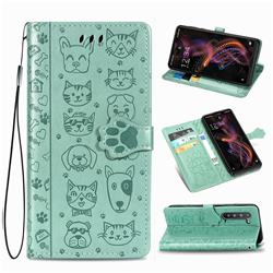 Embossing Dog Paw Kitten and Puppy Leather Wallet Case for Sharp AQUOS R5G - Green