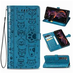 Embossing Dog Paw Kitten and Puppy Leather Wallet Case for Sharp AQUOS R5G - Blue