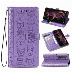 Embossing Dog Paw Kitten and Puppy Leather Wallet Case for Sharp AQUOS R5G - Purple