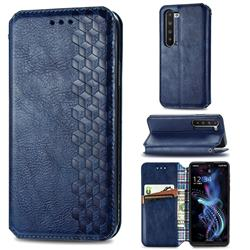 Ultra Slim Fashion Business Card Magnetic Automatic Suction Leather Flip Cover for Sharp AQUOS R5G - Dark Blue