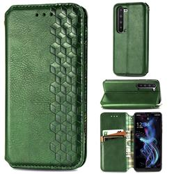Ultra Slim Fashion Business Card Magnetic Automatic Suction Leather Flip Cover for Sharp AQUOS R5G - Green